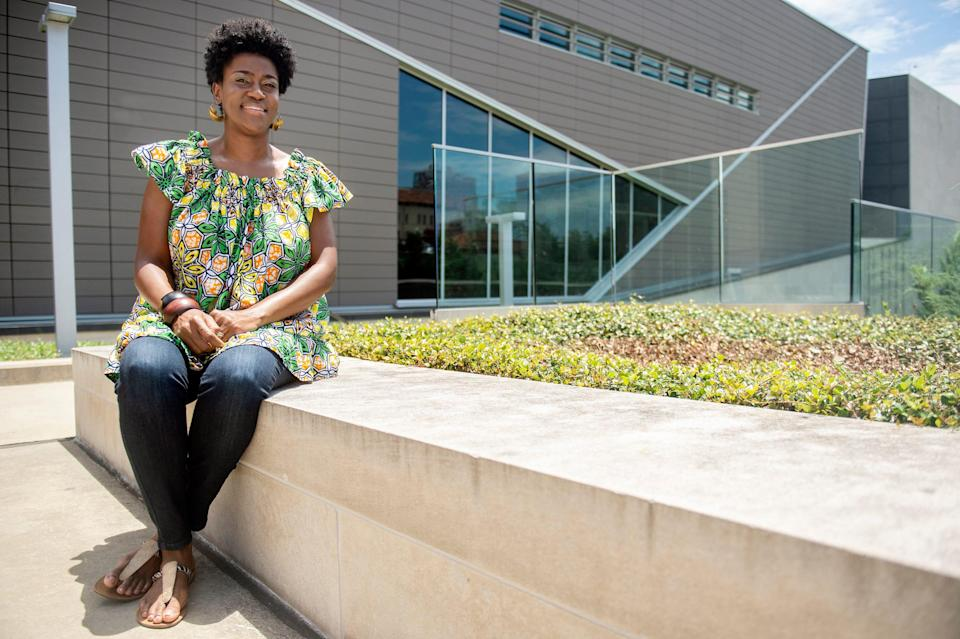Dr. Daphne Chamberlain, a Tougaloo College professor and administrator, is photographed outside of the Mississippi Civil Rights Museum in Jackson, Miss., on July 9, 2021.