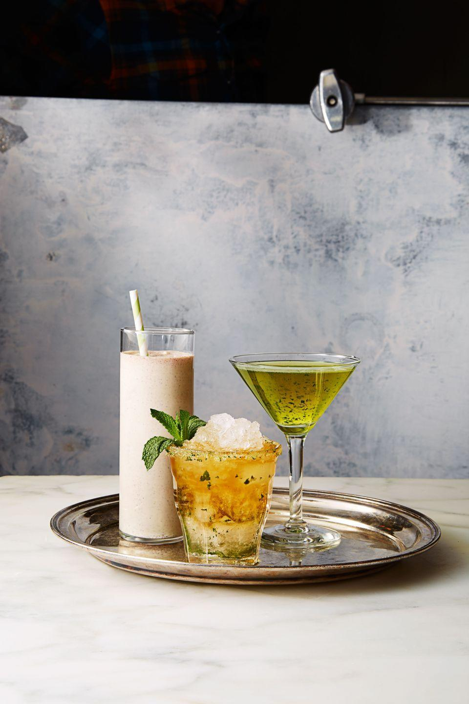 """<p>The term julep originates from a Persian word """"gulab,"""" which was adapted into English as another term for medicine. It eventually came to slyly refer to a drink as a morning pick-me-up. In 1938, this mint- and bourbon-based julep was named the official cocktail of the Kentucky Derby, where it's now consumed throughout the day.</p><p><em><a href=""""https://www.goodhousekeeping.com/food-recipes/a38385/mint-julep-recipe/"""" rel=""""nofollow noopener"""" target=""""_blank"""" data-ylk=""""slk:Get the recipe for Mint Julep"""" class=""""link rapid-noclick-resp"""">Get the recipe for Mint Julep </a></em> </p>"""