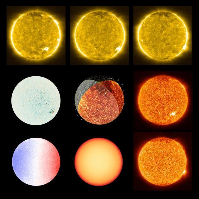 A sequence of images showing different aspects of the sun as captured by the Solar Orbiter's suite of instruments and cameras. / Credit: Solar Orbiter/EUI/PHI Team (ESA & NASA)