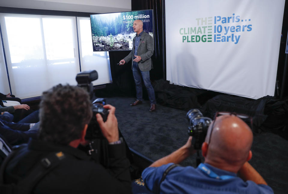 Amazon CEO Jeff Bezos speaks at news conference at the National Press Club in Washington, Thursday, Sept. 19, 2019. Bezos announced the Climate Pledge, setting a goal to meet the Paris Agreement 10 years early. (AP Photo/Pablo Martinez Monsivais)