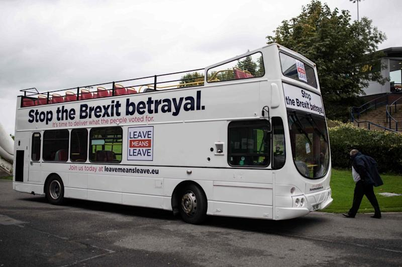 The campaign bus is seen parked outside the 'Save Brexit' rally (AFP/Getty Images)
