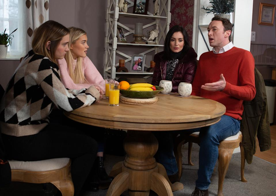 Liam Cavanagh [JONNY McPHERSON] and Leyla Harding [ROXY HARDING] try to explain their relationship to an upset Gabby Thomas [ROSIE BENTHAM] and dismissive Leanna Cavanagh [MIMI SLINGER], but when Leanna insists Liam choose between her and Leyla...what will Liam do? (ITV Plc)