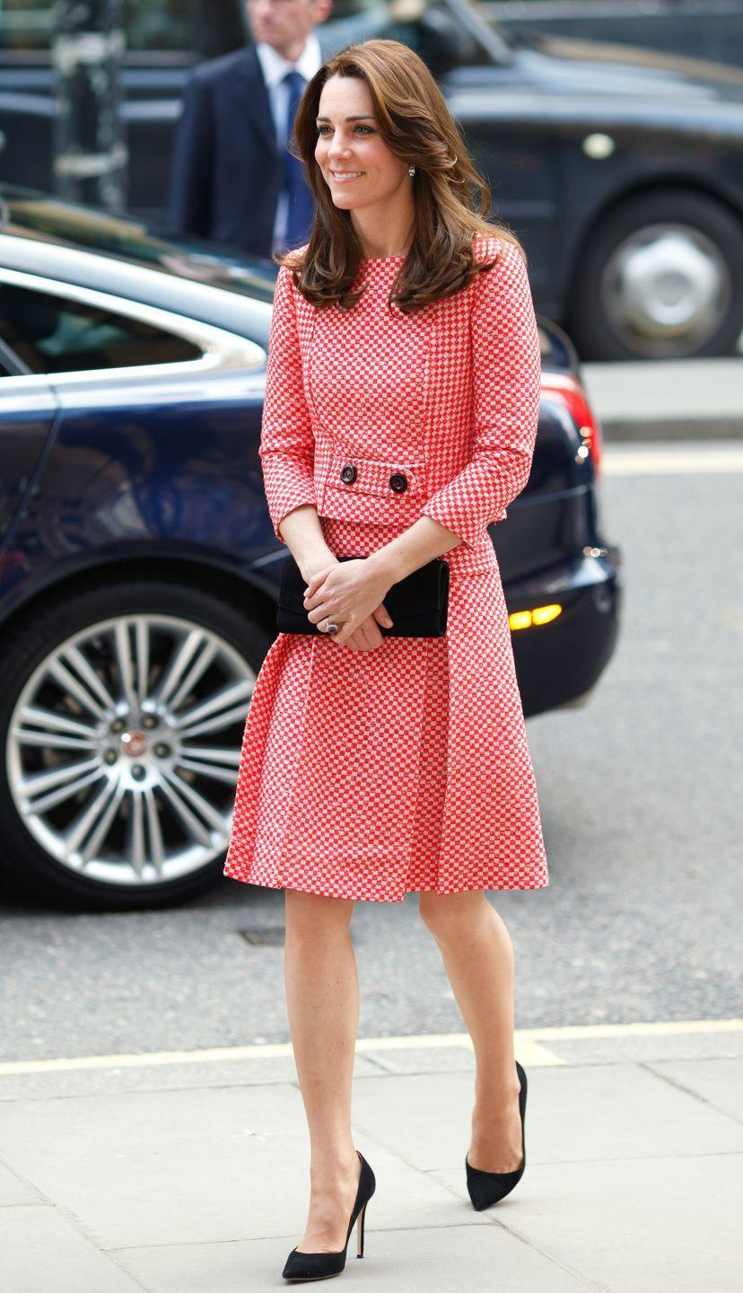 """<p>Wearing a red-and-white checkered gingham dress from <a href=""""http://www.eponinelondon.com/ss-16#/1113/"""" rel=""""nofollow noopener"""" target=""""_blank"""" data-ylk=""""slk:Eponine"""" class=""""link rapid-noclick-resp"""">Eponine</a> during her visit to a mentoring program of the XLP Project. </p>"""