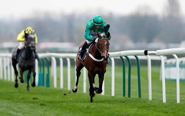 Horse Racing - Grand National Festival - Aintree Racecourse, Liverpool, Britain - April 12, 2018 We Have A Dream ridden by D A Jacob in action before winning the 14:20 Doom Bar Anniversary 4-Y-O Juvenile Hurdle Action Images via Reuters/Matthew Childs