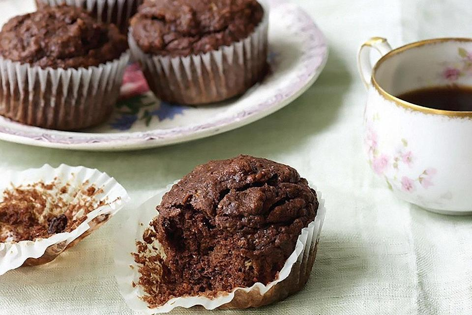 """Just a great excuse to eat chocolate for breakfast. (There's wheat germ and flaxseed in there, too.) <a href=""""https://www.epicurious.com/recipes/food/views/fudgy-chocolate-banana-flax-muffins?mbid=synd_yahoo_rss"""" rel=""""nofollow noopener"""" target=""""_blank"""" data-ylk=""""slk:See recipe."""" class=""""link rapid-noclick-resp"""">See recipe.</a>"""