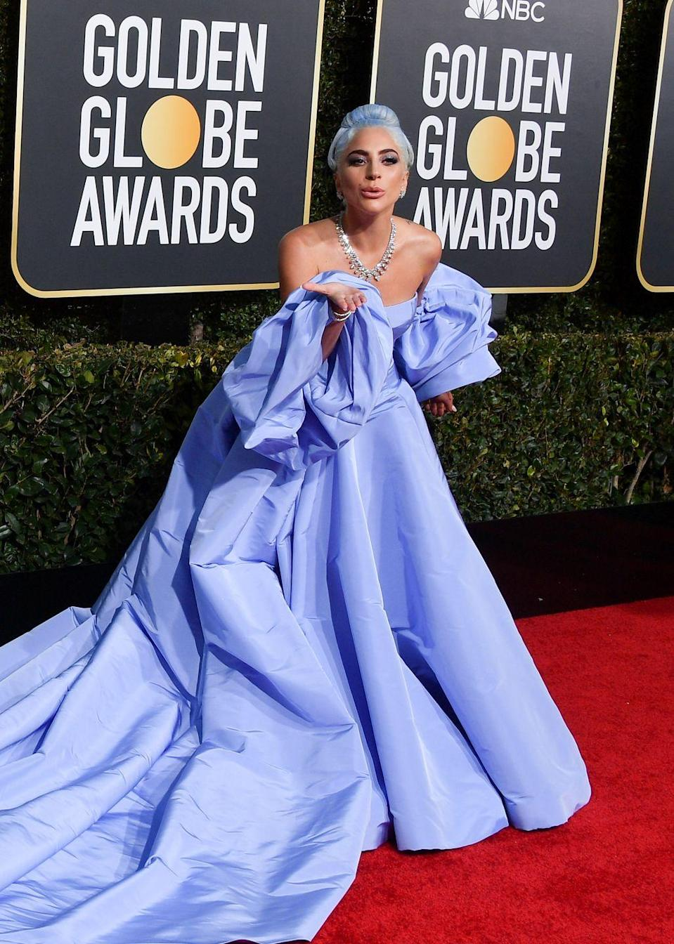 "<p>2019 was quite the year for Lady Gaga, which saw her scooping countless awards for A Star is Born. It also saw her upping her game fashion-wise in a series of high-octane gowns, culminating in her <a href=""https://www.harpersbazaar.com/uk/fashion/fashion-news/a27386074/lady-gaga-strip-tease-met-gala/"" rel=""nofollow noopener"" target=""_blank"" data-ylk=""slk:striptease entrance at the Met Gala."" class=""link rapid-noclick-resp"">striptease entrance at the Met Gala.</a> However, her red carpet highlight was this sky-blue Valentino couture dress that she wore to the Golden Globes. Gaga's gown<a href=""https://www.harpersbazaar.com/uk/fashion/fashion-news/a25771495/lady-gaga-judy-garland-dress-tribute-accident/"" rel=""nofollow noopener"" target=""_blank"" data-ylk=""slk:resembled a dress that Judy Garland"" class=""link rapid-noclick-resp""> resembled a dress that Judy Garland</a> wore in the original 1954 version of A Star is Born - the role for which Gaga was nominated. She later said that the comparison was actually a happy accident, but admitted that ""it looks an awful lot like it, doesn't it?""</p>"