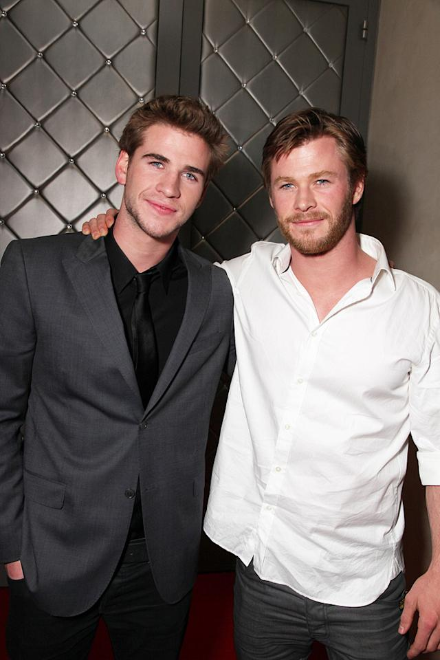 "<a href=""http://movies.yahoo.com/movie/contributor/1810126236"">Liam Hemsworth</a> and <a href=""http://movies.yahoo.com/movie/contributor/1809982254"">Chris Hemsworth</a> at the Los Angeles premiere of <a href=""http://movies.yahoo.com/movie/1810098775/info"">The Last Song</a> - 03/25/2010"