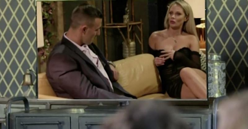 During Monday night's reunion episode on the couch, the cast will watch Jess propositioning Nic. Photo: Channel Nine
