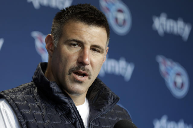 Tennessee Titans head coach Mike Vrabel answers questions during a news conference Monday, April 15, 2019, in Nashville, Tenn. The Titans are trying to figure out how to improve after three straight 9-7 seasons as the team begins their offseason program. (AP Photo/Mark Humphrey)