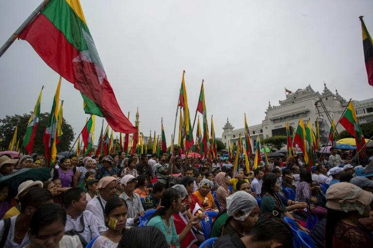 On Monday several hundred people gathered in downtown Yangon to rail against the UN, international NGOs and foreign media, as a siege mentality grows inside Myanmar.