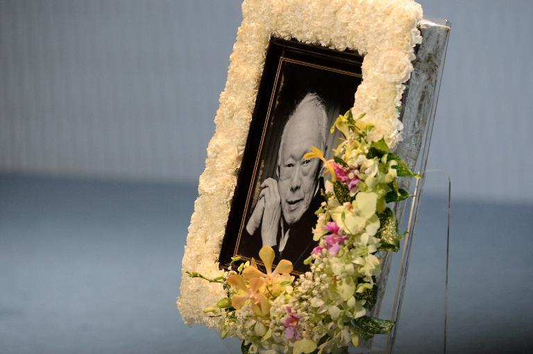 A portrait of Singapore's late former prime minister Lee Kuan Yew is seen during his funeral service in Singapore in March