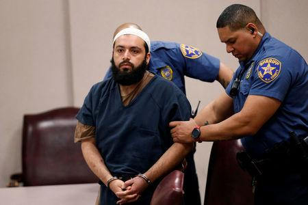 FILE PHOTO: Ahmad Khan Rahimi, an Afghan-born U.S. citizen accused of planting bombs in New York and New Jersey, appears in Union County Superior Court for a hearing in Elizabeth, New Jersey, U.S., May 15, 2017. REUTERS/Mike Segar/File Photo