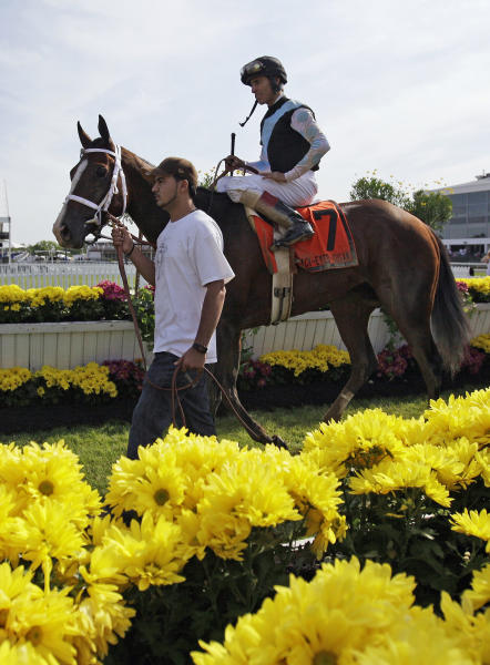 In Lingerie and jockey John Velazquez are led to the winner's circle after winning the Black-Eyed Susan Stakes horse race at Pimlico Race Course, Friday, May 18, 2012, in Baltimore. (AP Photo/Matt Slocum)