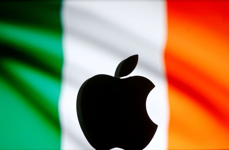 FILE PHOTO: A 3D printed Apple logo is seen in front of a displayed Irish flag in this illustration