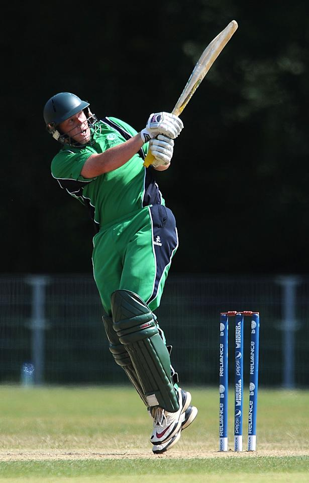 AMSTELVEEN, NETHERLANDS - JULY 10:  Kevin O'Brien of Ireland in action during the ICC World Cricket League Final between Ireland and Scotland at the VRC Amstelveen Cricket Ground on July 10, 2010 in Amstelveen, Netherlands.  (Photo by Christopher Lee/Getty Images)