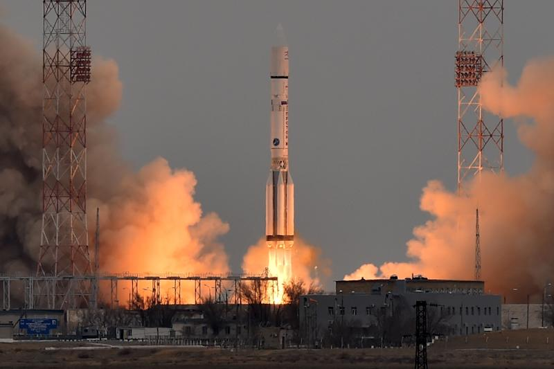 A Russian Proton-M rocket carrying the European-Russian ExoMars 2016 spacecraft blasts off from the launch pad at Baikonur cosmodrome (AFP Photo/KIRILL KUDRYAVTSEV)