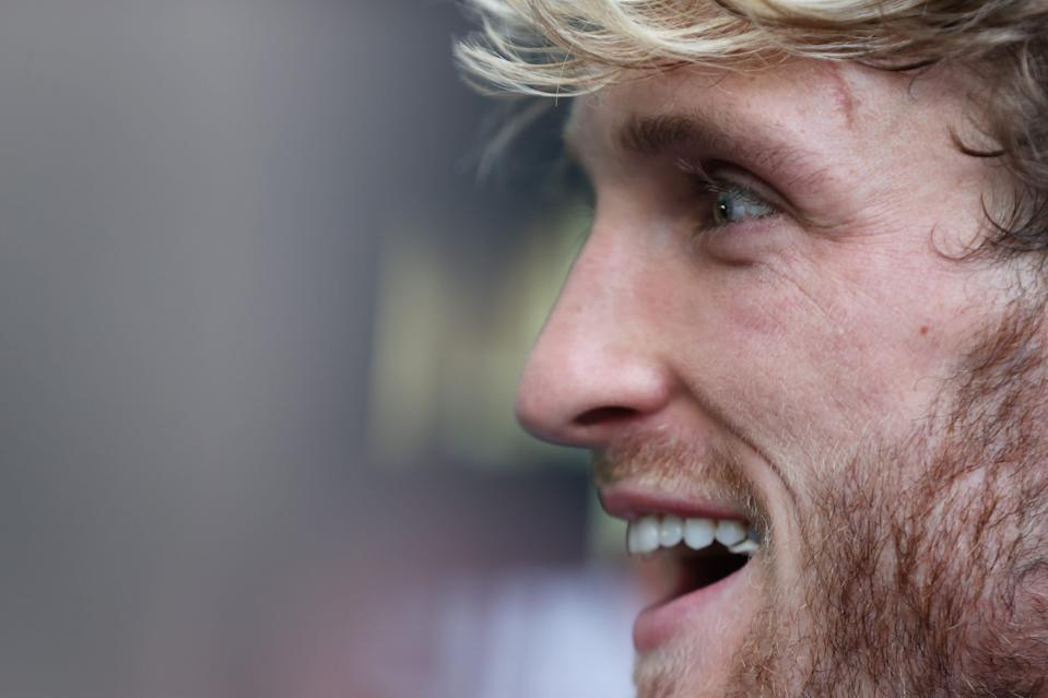 MIAMI GARDENS, FLORIDA - MAY 06:  Logan Paul takes part in media availability prior to his June 6 match against Floyd Mayweather at Hard Rock Stadium on May 06, 2021 in Miami Gardens, Florida. (Photo by Cliff Hawkins/Getty Images) ORG XMIT: 775652034 ORIG FILE ID: 1316692323