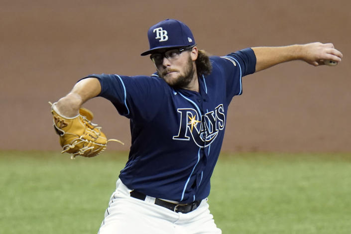 Tampa Bay Rays pitcher Josh Fleming delivers to the Miami Marlins during the first inning of a baseball game Friday, Sept. 4, 2020, in St. Petersburg, Fla. (AP Photo/Chris O'Meara)