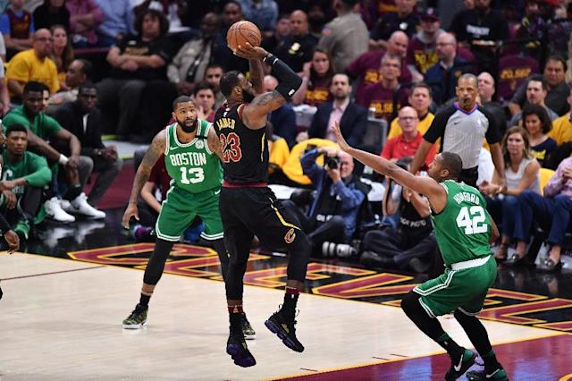 LeBron James added five rebounds and three assists to his sixth 40-point performance of this year's playoffs as the Cavaliers beat Boston 111-102 to tie their Eastern Conference final at 2-2 (AFP Photo/Jamie Sabau)