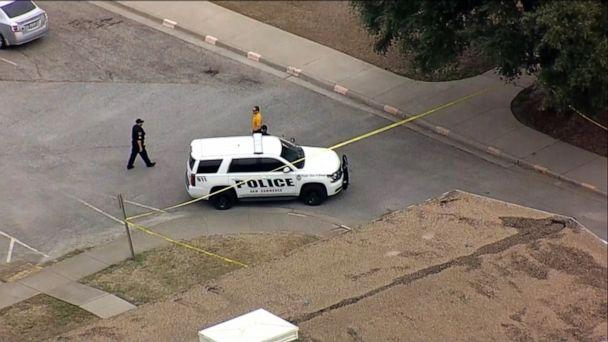 PHOTO: Police officers respond after reports of a shooting at a residence hall at Texas A&M University's campus in Commerce, Texas, on Feb. 3, 2020. (WFAA)
