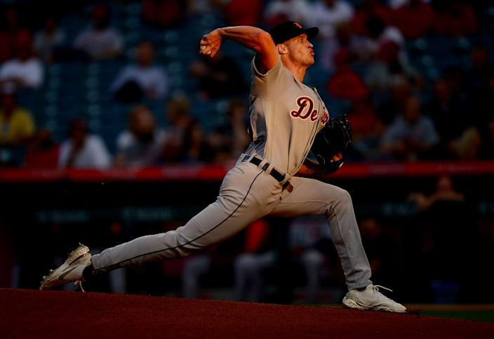 Detroit Tigers starting pitcher Matt Manning (25) throws against the Los Angeles Angels during the second inning June 17, 2021 at Angel Stadium in California.