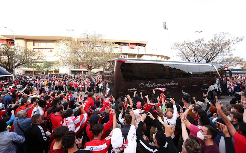 Fans greet the Manchester United team bus as it arrives at the stadium prior to the UEFA Europa League Quarter Final First Leg match between Granada CF and Manchester United - GETTY