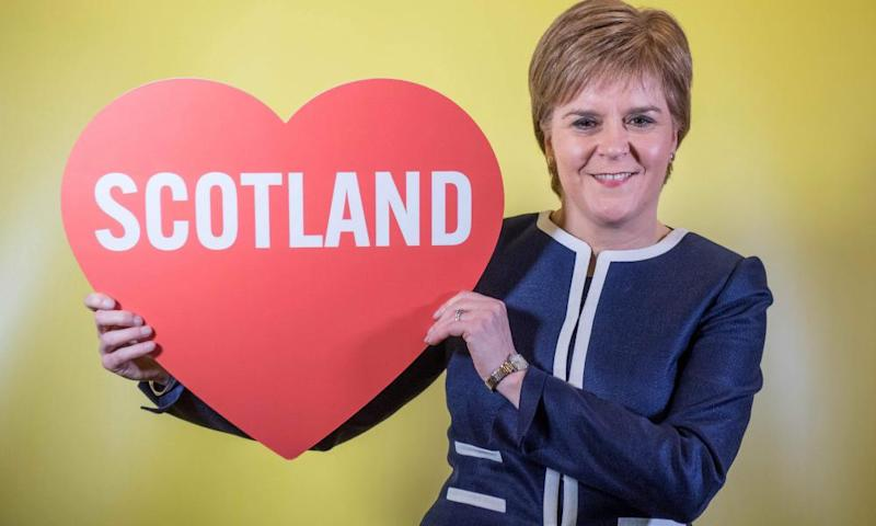 Nicola Sturgeon in a photobooth at the Scottish National party conference