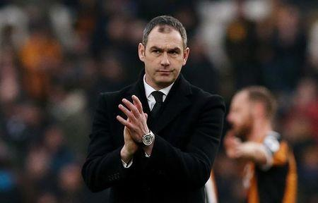 Swansea City manager Paul Clement dejected after the match
