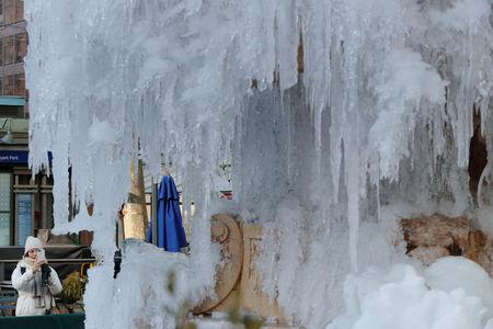 A woman stops to photograph the frozen Josephine Shaw Lowell Memorial Fountain in New York, U.S., January 3, 2018. REUTERS/Lucas Jackson