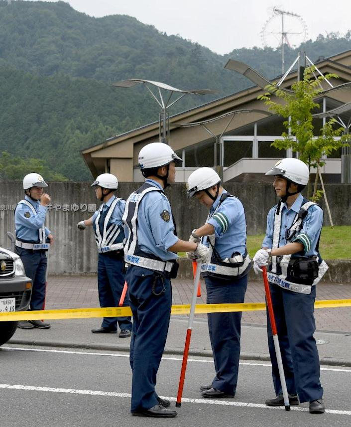 The attack at the care home began in the early hours of the morning when Satoshi Uematsu allegedly broke a first-floor window to get into the building (AFP Photo/Toshifumi Kitamura )