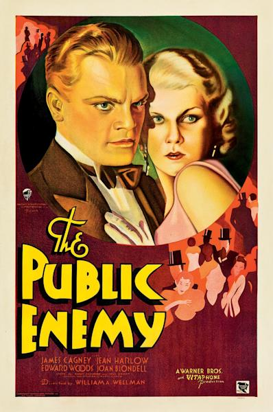 """This February 2012 photo provided by Heritage Auctions in Dallas shows a movie poster for the 1931 film """"The Public Enemy"""" featuring James Cagney. This and other rare classic movie theater posters found in a northeastern Pennsylvania attic are scheduled to go to auction March 23. (AP Photo/Heritage Auctions)"""