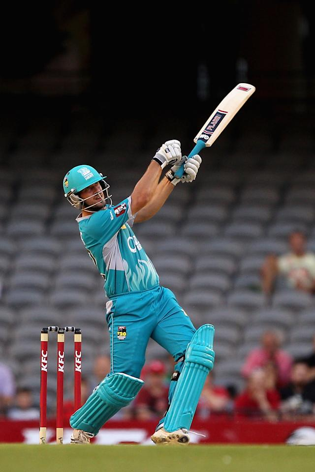 MELBOURNE, AUSTRALIA - DECEMBER 22:  Joe Burns of the Heat plays a shot during the Big Bash League match between the Melbourne Renegades and the Brisbane Heat at Etihad Stadium on December 22, 2012 in Melbourne, Australia.  (Photo by Robert Prezioso/Getty Images)