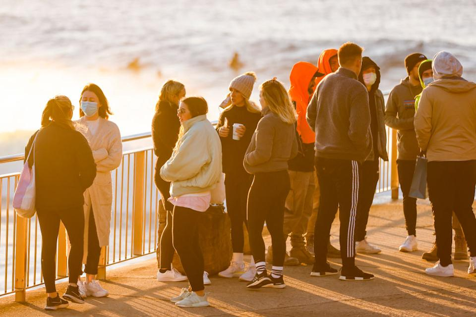 People gather at Bronte beach on Thursday during Sydney's lockdown. Source: Getty