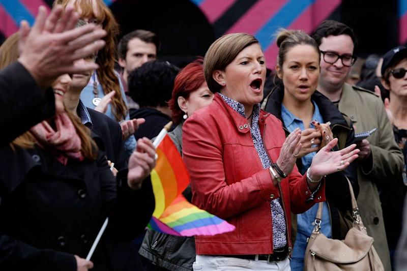 Ms Forster, pictured here at a same-sex equality rally in 2015, was one of the main figures of the Yes campaign. Source: Getty