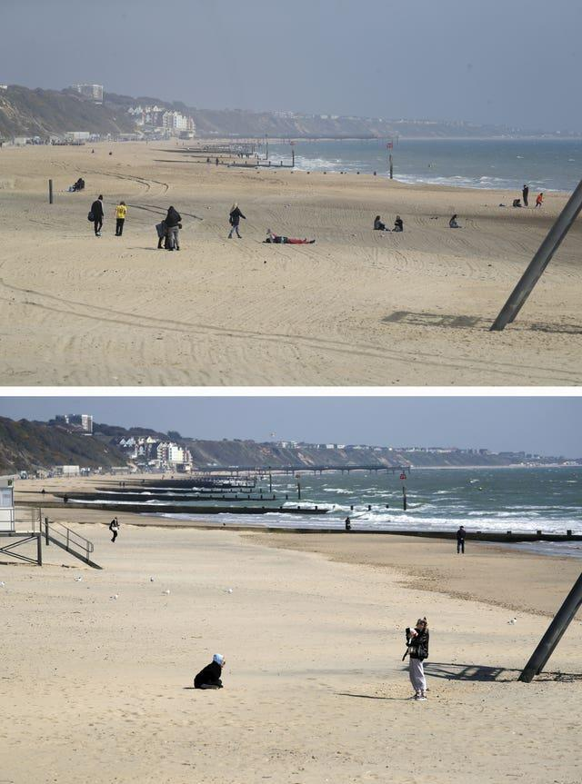 Composite of photos of the seafront in Bournemouth taken today (top) and the same view on 24/03/20 (bottom), the day after Prime Minister Boris Johnson put the UK in lockdown