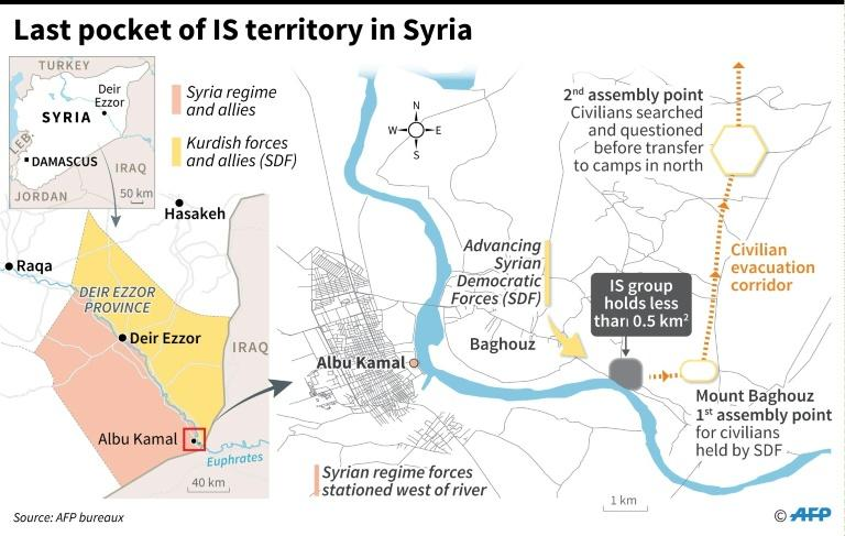 Map of the offensive against the last pocket of IS territory in Syria