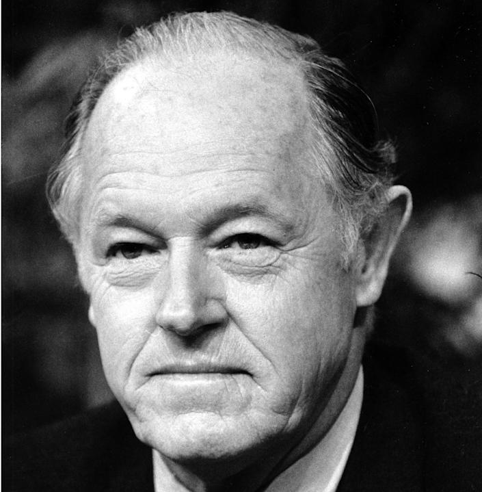 """FILE - This Jan. 7, 1982 black-and-white file photo shows E. Howard Hunt appearing on ABC-TV's """"Good Morning America"""" in New York City. Some documents sealed in the 1970s as part of the court case against seven men involved in the Watergate burglary must be released, a federal judge in Washington says. The records, Luke Nichter, from Texas A&M University-Central Texas in Killeen, is seeking is in the case of U.S. v. Liddy that involved the five men arrested during the Watergate break-in as well as the two men who orchestrated the operation, G. Gordon Liddy and E. Howard Hunt. (AP Photo/David Pickoff, File)"""