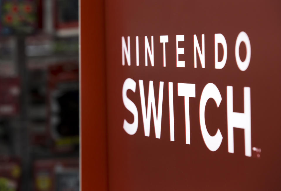 TOKYO, JAPAN - JUNE 05:  The Nintendo Switch logo is displayed at the Bic Camera Yurakucho electronics store on June 5, 2018 in Tokyo, Japan. The store is one of the most profitable electronic, cosmetic and duty-free goods stores in Japan and is a popular destination among increasing in-bound tourists to the country. A record 28.7 million tourists visited Japan in 2017, up 19 percent from the previous year.  (Photo by Tomohiro Ohsumi/Getty Images)