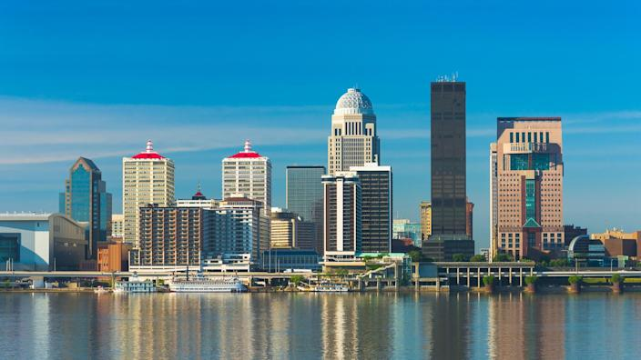 Downtown Louisville skyline with reflections on the Ohio River.