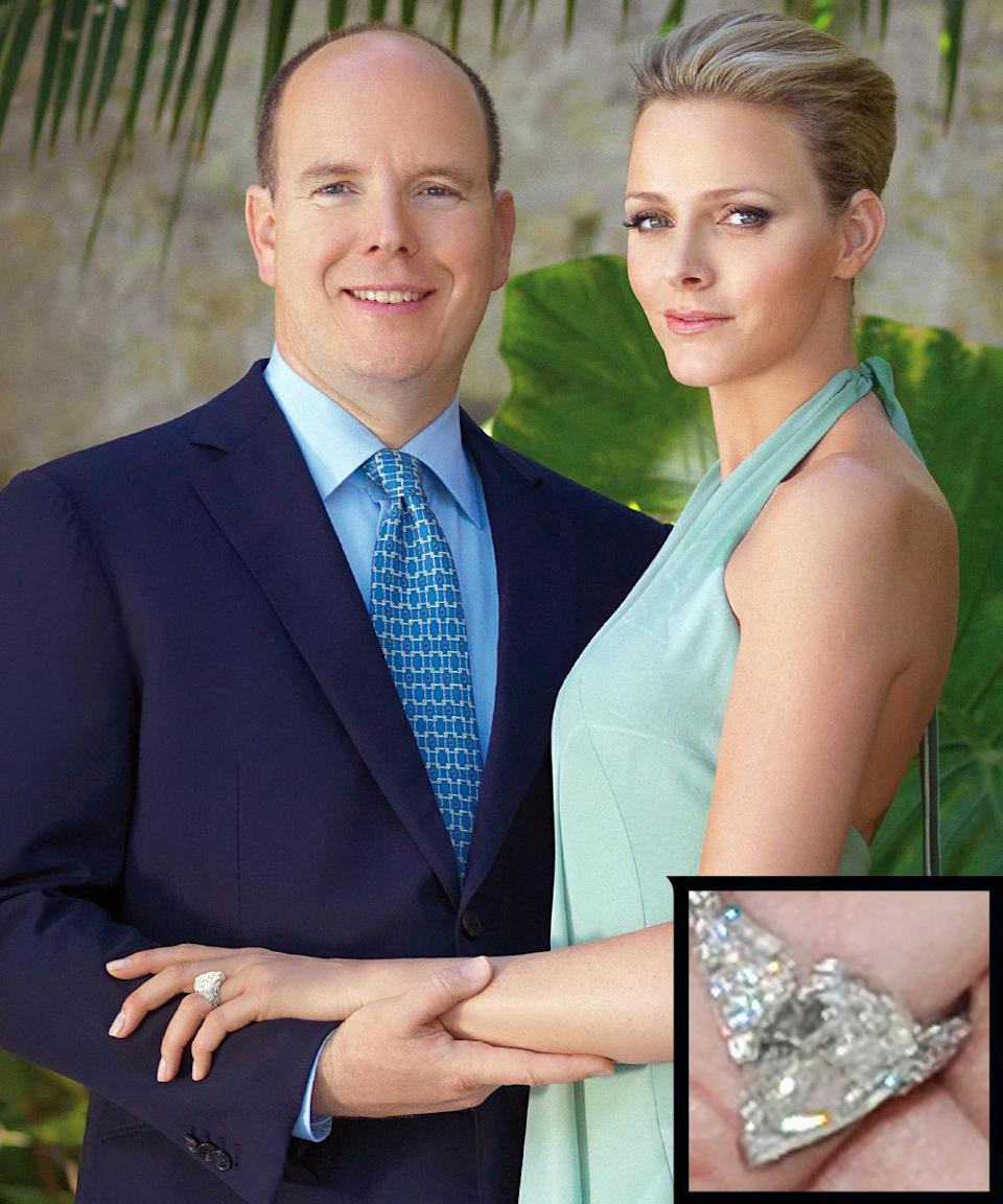 <p>Prince Albert of Monaco proposed to Charlene Wittstock in 2010 with a 3-carat pear-shaped engagement ring surrounded by round diamonds, a piece designed by Parisian jeweler Maison Repossi. The couple married in 2011.</p>