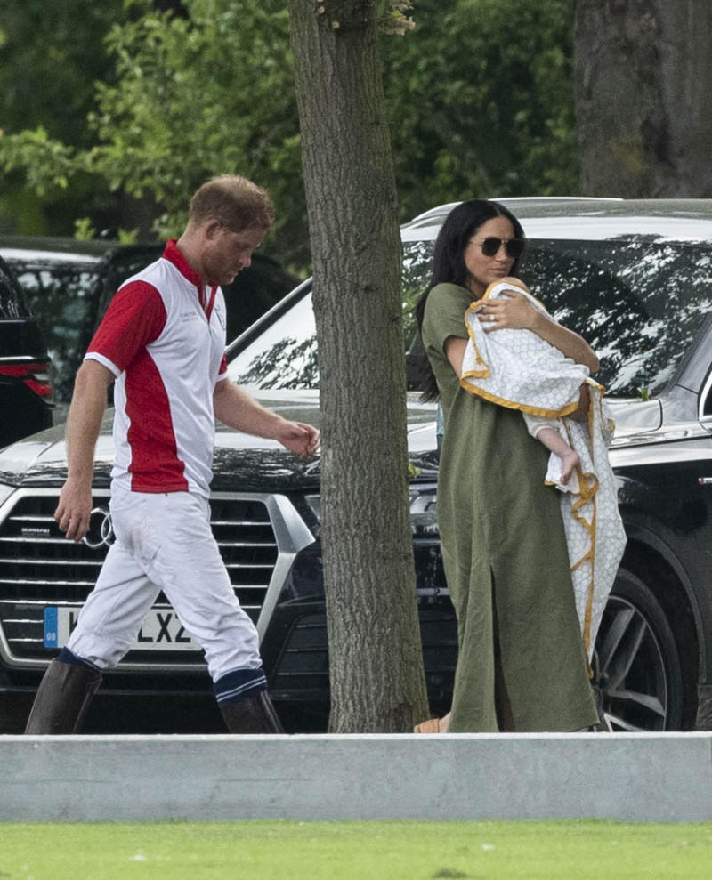 Photo by: KGC-178/STAR MAX/IPx 2019 7/10/19 Duchess Catherine, Prince George, Princess Charlotte Prince Louis, Duches Meghan and Archie Harrison Mountbatten watch Prince William and Prince Harry compete in the King Power Royal Charity Polo Match for the Khun Vichai Srivaddhanaprabha Memorial Polo Trophy at Billingbear Polo Club in Wokingham.