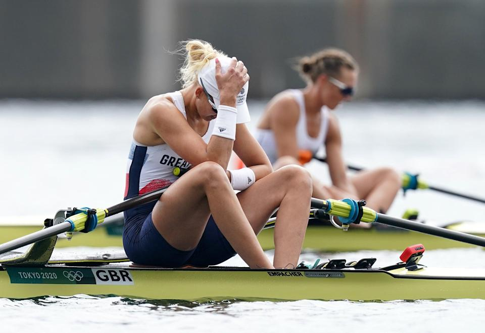 Great Britain's Victoria Thornley reacts after finishing fourth in the women's single sculls (Mike Egerton/PA) (PA Wire)