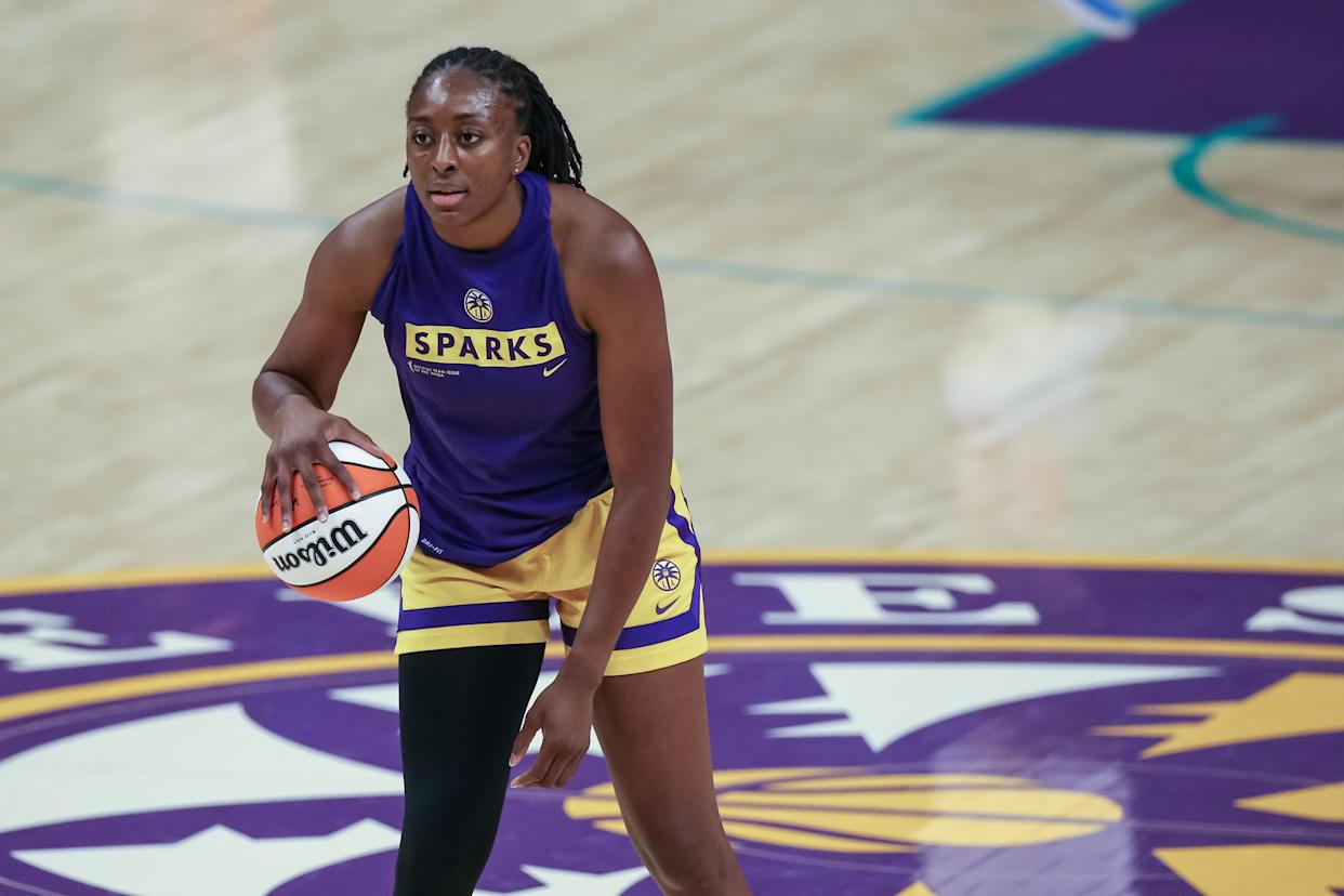Los Angeles Sparks forward Nneka Ogwumike and Michelob ULTRA are teaming up to bring more visibility to women's sports. (Photo by Jevone Moore/Icon Sportswire via Getty Images)