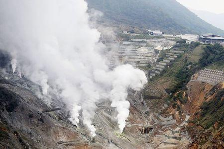 Steam rises from Owakudani vallay at Mount Hakone where a small volcanic eruption took place, in Hakone town, west of Tokyo, in this aerial view photo taken by Kyodo June 30, 2015. REUTERS/Kyodo