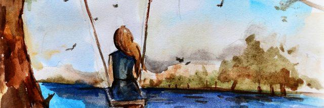 A watercolor image of a woman on a swing.
