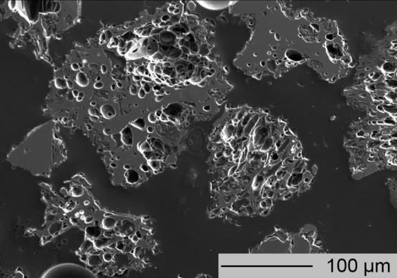 A microscope image of the White River ash from the Yukon Territory.