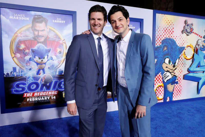 """Director Fowler and cast member Schwartz pose at the premiere of """"Sonic the Hedgehog"""" in Los Angeles"""