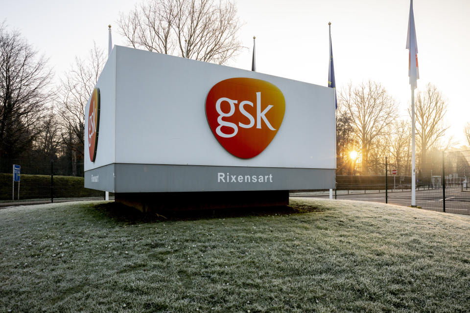 Illustration picture shows the logo of GSK ahead of a personnel meeting of the GSK Vaccines and pharmaceutical company at the GSK GlaxoSmithKline Biologicals plant of the group, in Rixensart, Friday 07 February 2020. A reform plan is reportedly threatening 720 jobs. BELGA PHOTO HATIM KAGHAT (Photo by HATIM KAGHAT/Belga/Sipa USA)