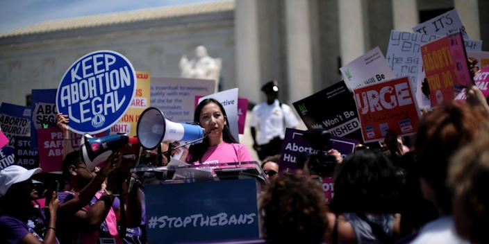 FILE PHOTO: Planned Parenthood president Dr. Leana Wen speaks at a protest against anti-abortion legislation at the U.S. Supreme Court in Washington, U.S., May 21, 2019. REUTERS/James Lawler Duggan/File Photo
