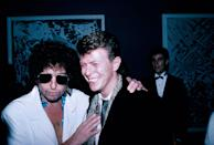 <p>Bob Dylan and David Bowie in 1985.</p>